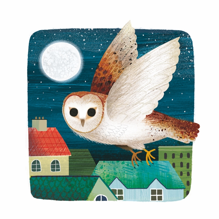 Illustration of an owl on top of a house at night
