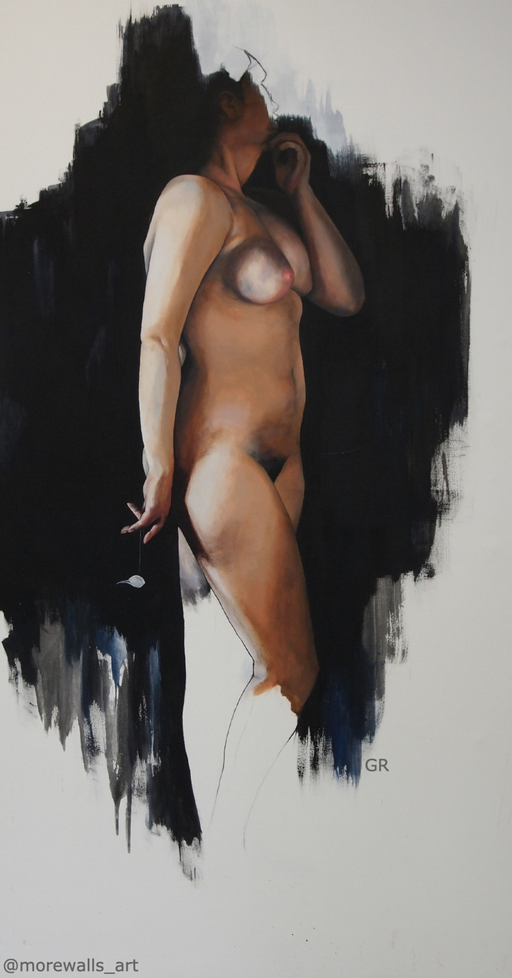 nude with pigeon skull, 100 x 200 cm, acrylic on canvas