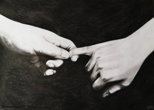 'Touch' charcoal on paper A4 2019